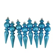 "Northlight 8ct Shiny Turquoise Blue Ribbed Shatterproof Christmas Finial Ornaments 6.5"" (31730983)"