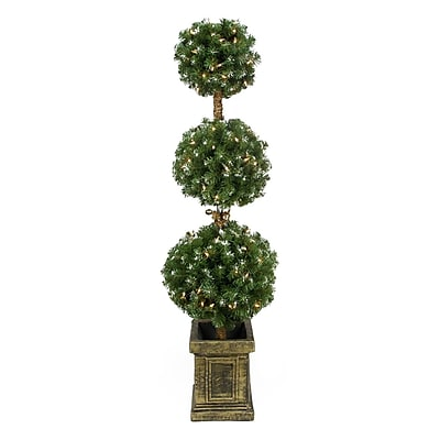 Northlight 4.5' Pre-Lit Frosted Triple Ball Artificial Topiary Tree in Decorative Pot - Clear Lights (31742076)
