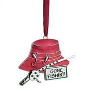 """Northlight 3.5"""" Regal Silver-Plated Red Fishing Holiday Ornament with European Crystals (31741304)"""