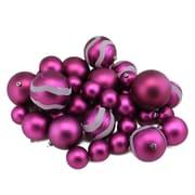 "Northlight 39ct Light Magenta Pink Matte and Glitter Shatterproof Christmas Ball Ornaments 2""-4"" (31756971)"
