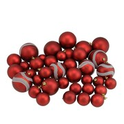 """Northlight 39ct Red Hot Matte and Glitter Shatterproof Christmas Ball Ornaments 2""""-4"""" (31756976)"""