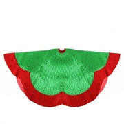"Northlight 60"" Green Metallic Pleated Red Velvet Trimmed Scalloped Edge Christmas Tree Skirt (32283240)"