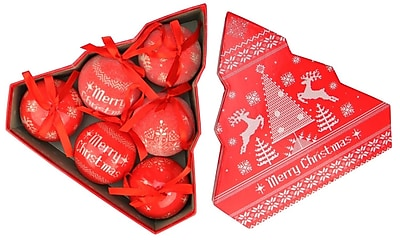 Northlight 6-Piece Red and White Nordic-Inspired Decoupage Shatterproof Christmas Ball Ornament Set 2.75