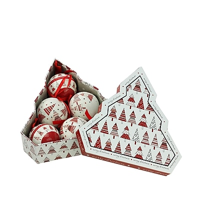 "Northlight 6-Piece Red and White Decoupage Shatterproof Christmas Tree Ball Ornament Set 2.75"" (32256675)"