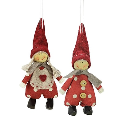 Northlight Set of 2 Red and White Polka Dot Boy and Girl Decorative Hanging Christmas Ornaments 5.5