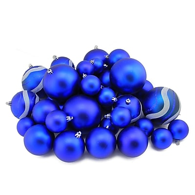 Northlight 39ct Royal Blue Matte and Glitter Shatterproof Christmas Ball Ornaments 2
