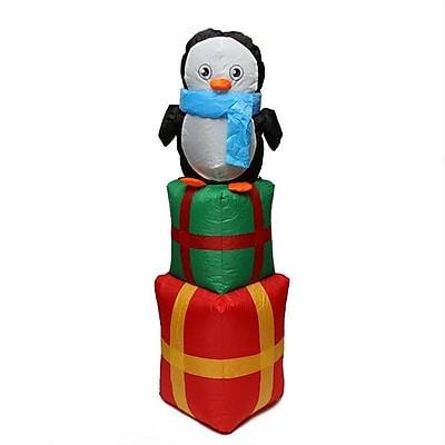 CC Inflatables 4' Inflatable Cute Penguin on Gift Boxes Lighted Christmas Yard Art Decoration (31739611)