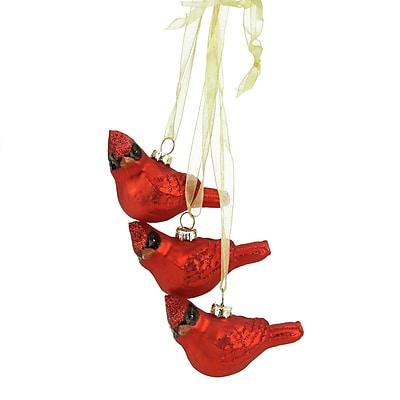 "Northlight 10"" Miniature Glittered Red Glass Cardinal Bird Decorative Christmas Ornament (31751564)"