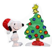 "Product Works 24"" Pre-Lit 2-D Peanuts Snoopy and Christmas Tree Yard Art Decoration - Clear Lights (31742662)"