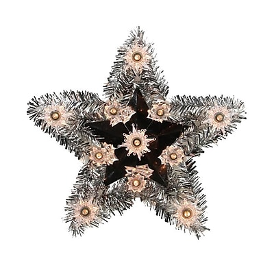 """Sienna 9"""" Lighted Silver Tinsel Star Christmas Tree Topper -Clear Lights (31739670)"""