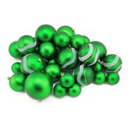 "Northlight 39ct Xmas Green Matte and Glitter Shatterproof Christmas Ball Ornaments 2""-4"" (31756967)"