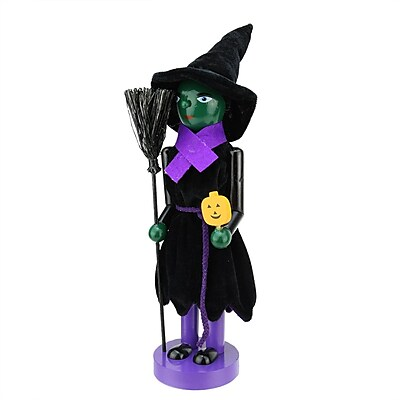 "Northlight 14"" Green Witch Decorative Wooden Halloween Nutcracker Holding Broom and Jack-O-Lantern (31741962)"