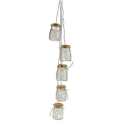 Kaemingk Set of 5 Battery Operated LED Glass Jar Hanging Christmas Lights - Clear Wire (31751352)