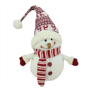 """Northlight 24"""" Ivory Red and White Chubby Smiling Snowman with Reindeer Hat Plush Table Top Christmas Figure (31751556)"""