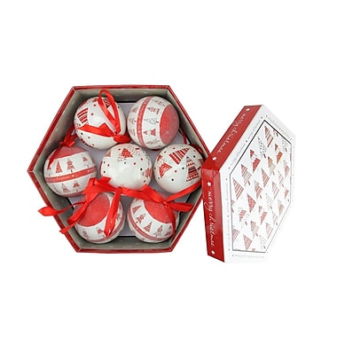 Northlight 14-Piece Red and White Decoupage Shatterproof Christmas Tree Ball Ornament Set 2.75