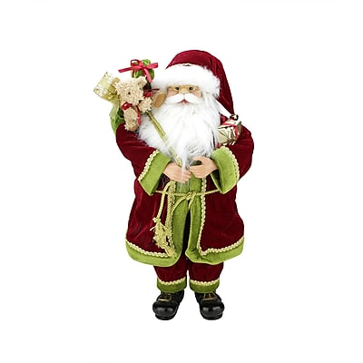 "Northlight 24"" Grand Imperial Red Green and Gold Standing Santa Claus Christmas Figure with Gift Bag (31424845)"