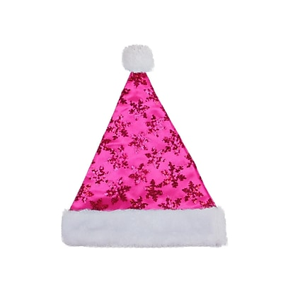 "Northlight 14"" Pink Sequin Snowflake Christmas Santa Hat with White Faux Fur Brim - Medium Adult Size (32230524)"