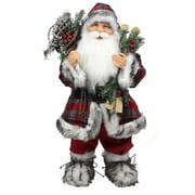 "Northlight 24"" Alpine Chic Standing Santa Claus with Frosted Pine Snowshoes and Skis Christmas Figure (31734270)"