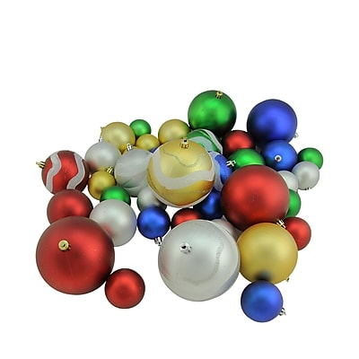 Northlight 39ct Multi-Color Matte and Glitter Shatterproof Christmas Ball Ornaments 2