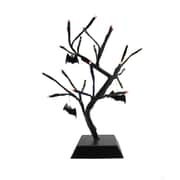 "Northlight 15"" Pre-Lit B/O Black Spooky Halloween Table Top Tree with Bats - Orange LED Lights (32234360)"