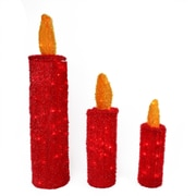 LB International Set of 3 Pre-Lit Red and Gold Tinsel Candle Christmas Yard Art Decorations (31729779)