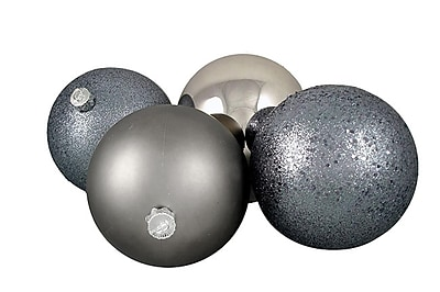 Northlight 4ct Light Gunmetal Gray Shatterproof 4-Finish Christmas Ball Ornaments 6