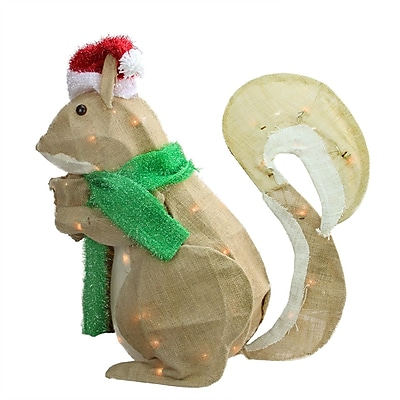"Northlight 28"" Pre-Lit Outdoor Burlap Squirrel with Santa Hat Christmas Yard Art Decoration (31601356)"