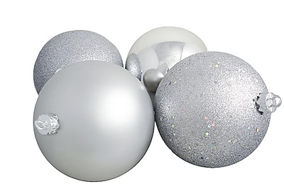 "Northlight 4ct Silver Splendor Shatterproof 4-Finish Christmas Ball Ornaments 6"" (150mm) (31754921)"