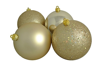 Northlight 4ct Champagne Gold Shatterproof 4-Finish Christmas Ball Ornaments 6