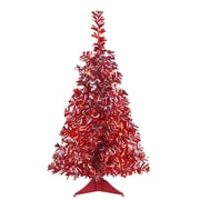 """Vickerman 2' x 14"""" Pre-Lit Red & White Candy Cane Artificial Wide Cut Tinsel Christmas Tree - Red & Clear Lights (31735248)"""