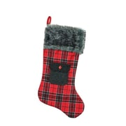 "Northlight 20.5"" Alpine Chic Red and Black Plaid Christmas Stocking with Pocket and Gray Faux Fur Cuff (32229124)"