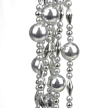 St. Nick's Choice 8' Decorative Shatterproof Shiny and Matte Silver Beaded Christmas Ball Garland (31744211)