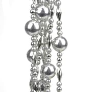 St. Nick's Choice 8' Decorative Shatterproof Shiny and Matte Silver Beaded Christmas Ball Garland (31744211)