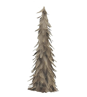 """Northlight 19"""" Light Brown and Gray Glittered Feather Cone Tree Christmas Decoration (32261515)"""