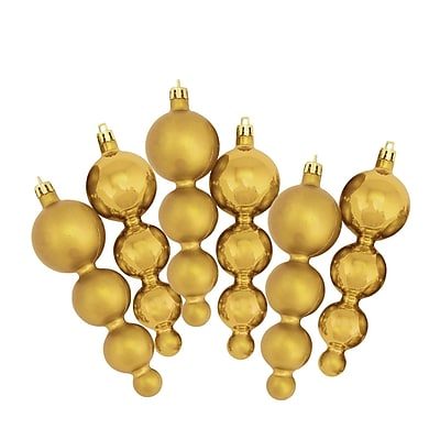 Northlight 6ct Shiny and Matte Vegas Gold Finial Shatterproof Christmas Ornaments 5.75