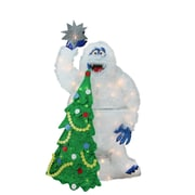 "Product Works 32"" Pre-Lit Faux Fur Bumble with Tree and Star Christmas Yard Art Decoration (32275405)"