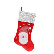 "Northlight 20.5"" Red and White Santa Claus Embellished and Embroidered Christmas Stocking with Sequined Cuff (32229650)"