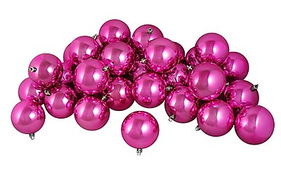 Northlight 32ct Shiny Magenta Pink Shatterproof Christmas Ball Ornaments 3.25