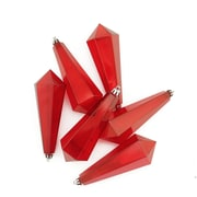 """Northlight 6ct Red Hot Transparent Shatterproof Diamond Shaped Icicle Christmas Ornaments 5.5"""" (31756437)"""