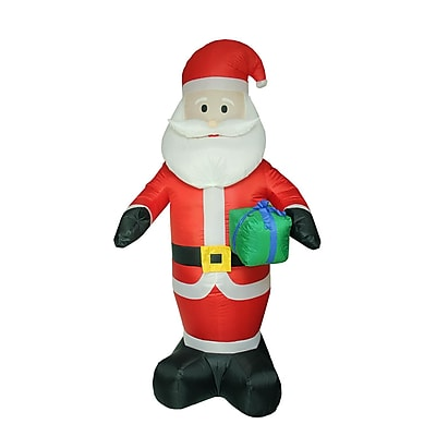 LB International 8' Inflatable Lighted Santa Claus with Gift Christmas Yard Art Decoration (32282571)