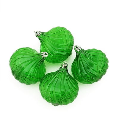 Northlight 4ct Xmas Green Transparent Onion Drop Shatterproof Christmas Ornaments 4.5
