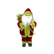 "Northlight 12"" Red Green and Gold Standing Santa Claus Christmas Figure with Gift Bag (31422153)"