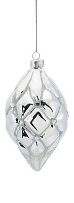 Melrose Shiny Silver Diamond Pattern Glittered Glass Teardrop Christmas Ornaments 5