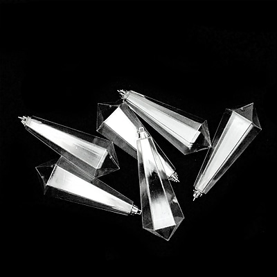 Northlight 6ct Clear Transparent Shatterproof Diamond Shaped Icicle Christmas Ornaments 5.5