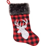 "Northlight 20.5"" Alpine Chic Red and Black Shepherd's Check Reindeer and Gray Faux Fur Cuff Christmas Stocking (32229125)"