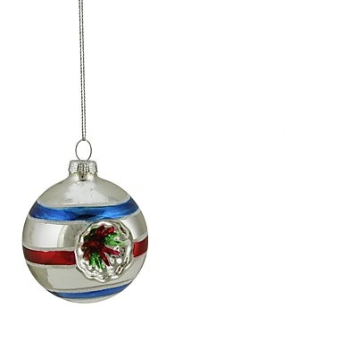 Northlight Silver Red and Blue Glittered Witches Eye Glass Ball Ornament 2.75