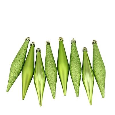 Northlight 8ct Green Kiwi Shatterproof 4-Finish Finial Drop Christmas Ornaments 6