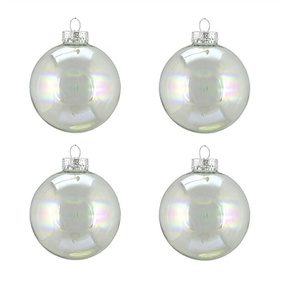 Northlight 4ct Shiny Clear Iridescent Glass Ball Christmas Ornaments 2.5