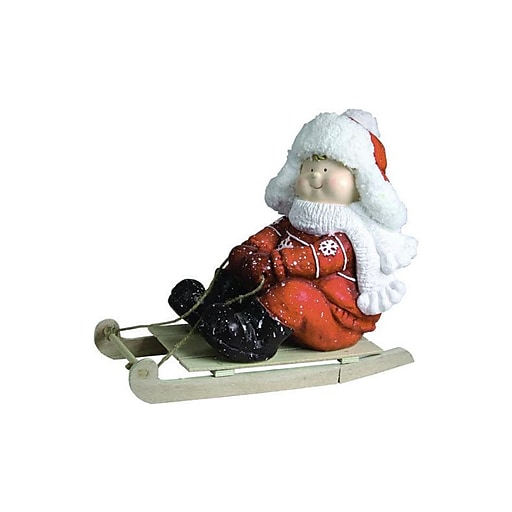 """Northlight 16"""" Christmas Morning Boy on a Sled Red and White Christmas Tabletop Figure (32258319)"""