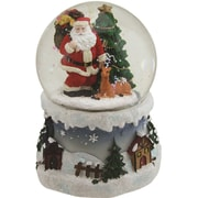 """Northlight 5.5"""" Santa Claus with Christmas Tree and Reindeer Swirling Snow Globe Glitterdome (32260156)"""